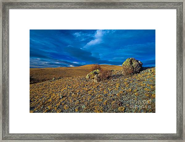 On A Blue Day Framed Print
