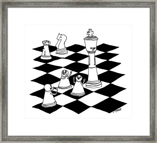 On A Chessboard Framed Print