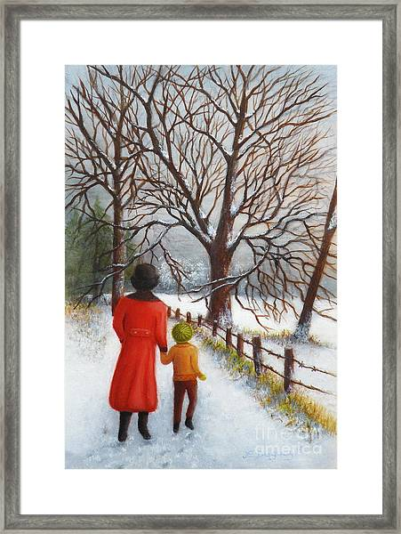 On A Wintry Walk With Gran Framed Print