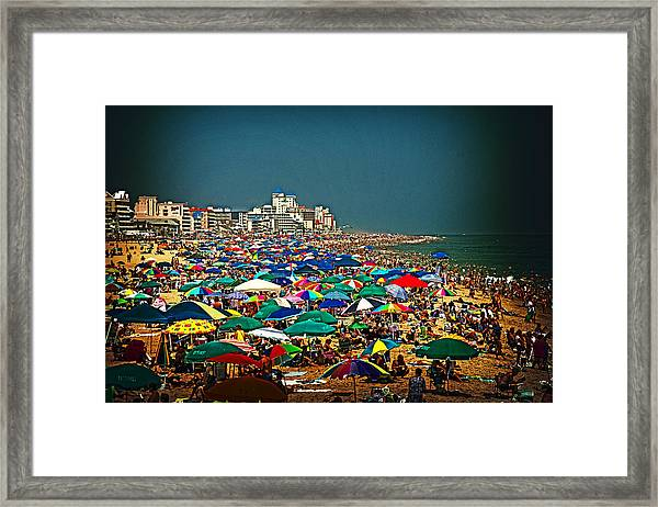 On The Beach In August Framed Print