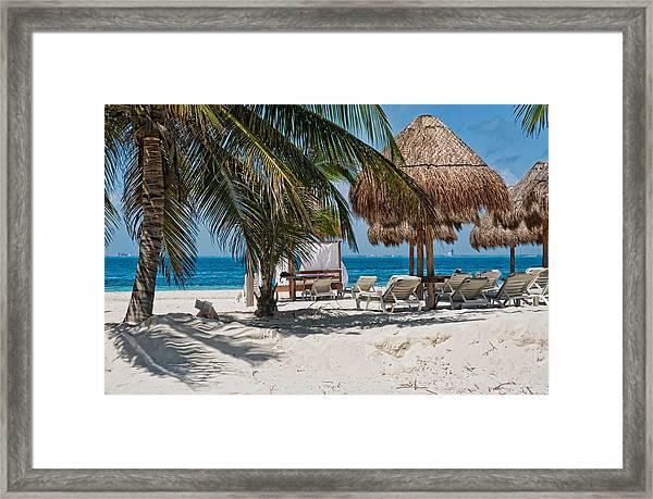 White Sandy Beach In Isla Mujeres Framed Print