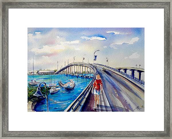 Framed Print featuring the painting On The Bridge by Katerina Kovatcheva