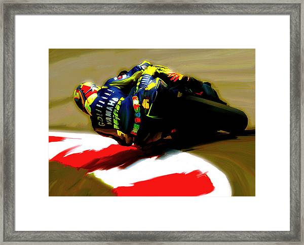 On The Edge Vi Valentino Rossi Framed Print