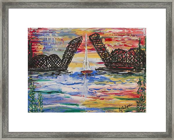 On The Hour. The Sailboat And The Steel Bridge Framed Print