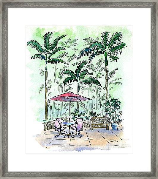 On The Lanai Framed Print