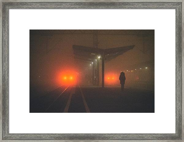 On The Platform Or At The Subway Station Framed Print by Matija Posavec