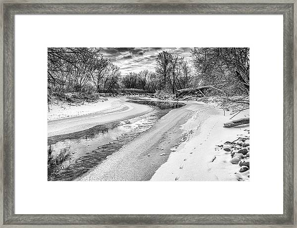 On The Riverbank Bw Framed Print