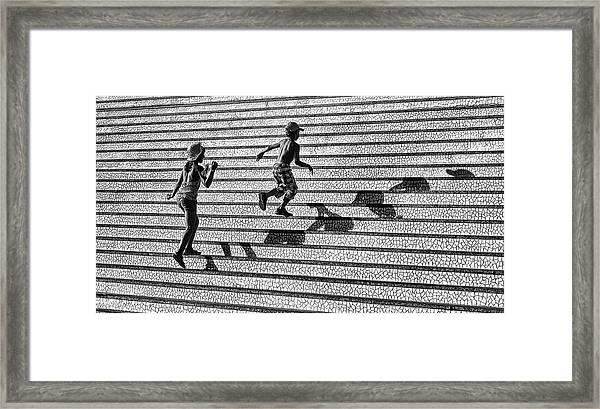 On The Stairs . Framed Print by Juan Luis Duran