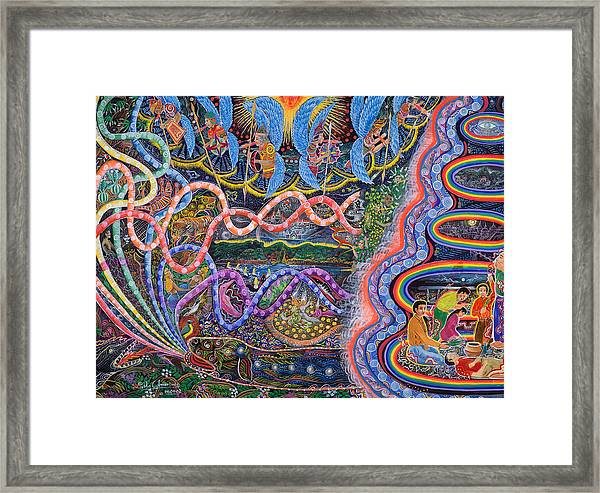 Framed Print featuring the painting Ondas De La Ayahuasca by Pablo Amaringo