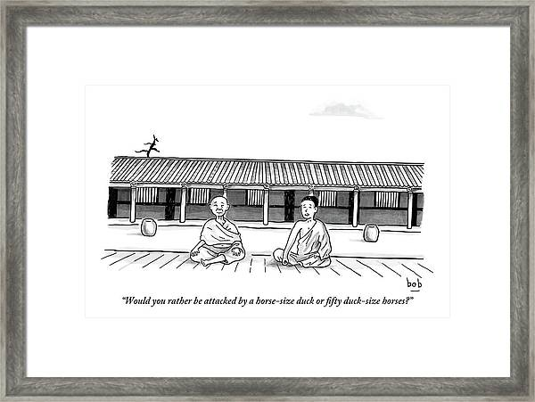 One Buddhist Monk Asks Another While Meditating Framed Print