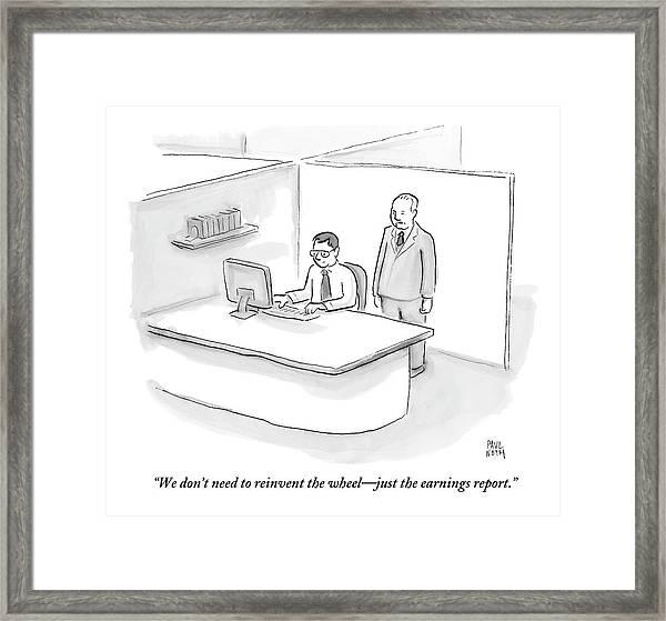 One Businessman Standing Behind A Desk Speaks Framed Print