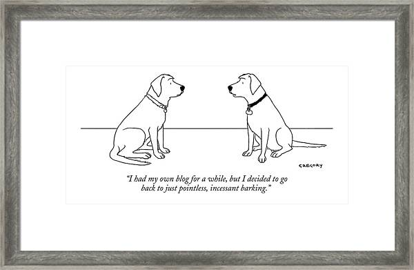 One Dog Talking To Another Framed Print