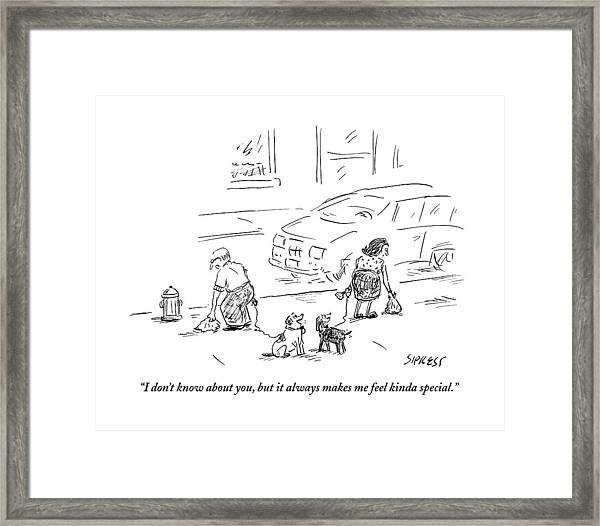 One Dog To Another As Owners Use Plastic Bags Framed Print