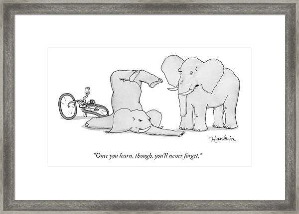 One Elephant Says To Another Elephant Who Framed Print