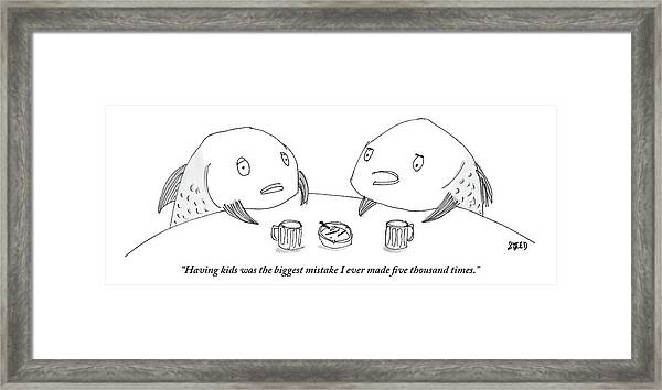 One Fish Speaks To Another As They Share Beers Framed Print