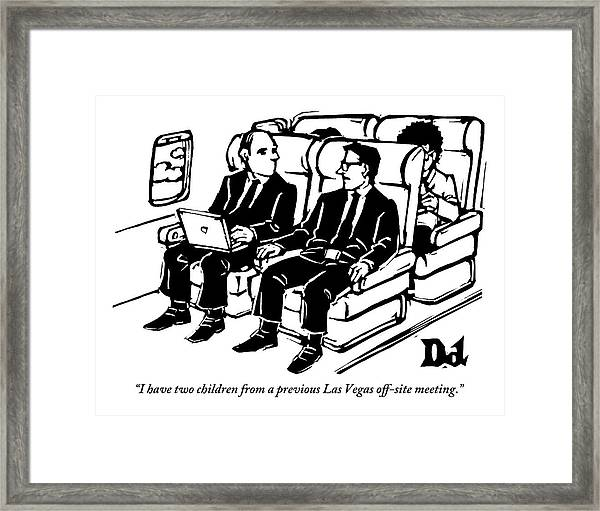 One Man Speaks To Another On An Airplane Framed Print