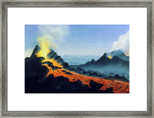 One Of Two Active Vents On Mt Etna Framed Print