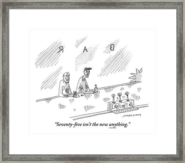 One Old Man Drinking At A Bar Speaks To Another Framed Print