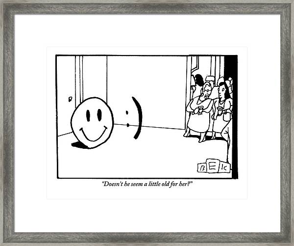 One Traditional Smiley Face Standing Next To An Framed Print