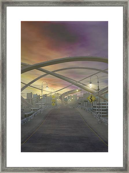 One Way No Exits Curves Ahead Framed Print