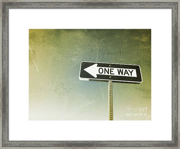 One Way Road Sign Framed Print