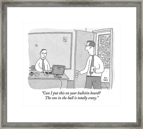 One Worker Enters The Office Of Another Framed Print