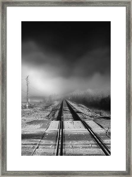 Onward - Railroad Tracks - Fog Framed Print