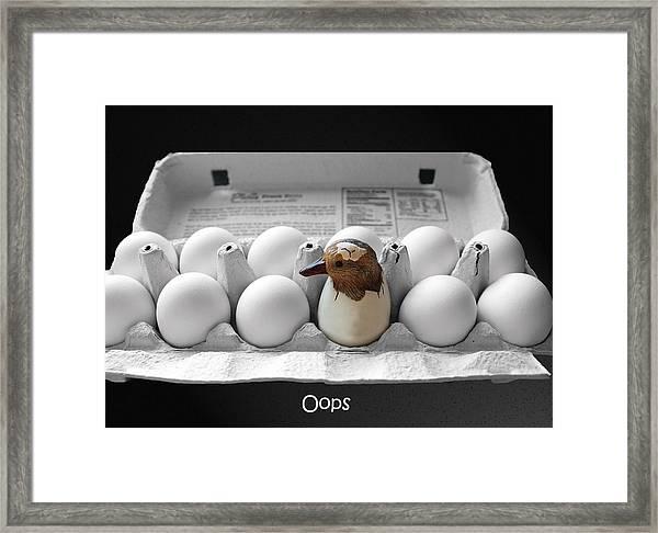 Oops Framed Print