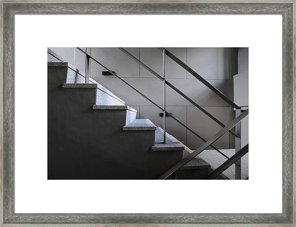 Open Stairwell In A Modern Building Framed Print by Primeimages