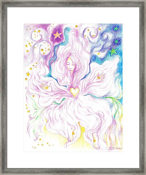 Opening And Blossoming   Dreaming The World Into Being   As She Dances In The Stars Framed Print