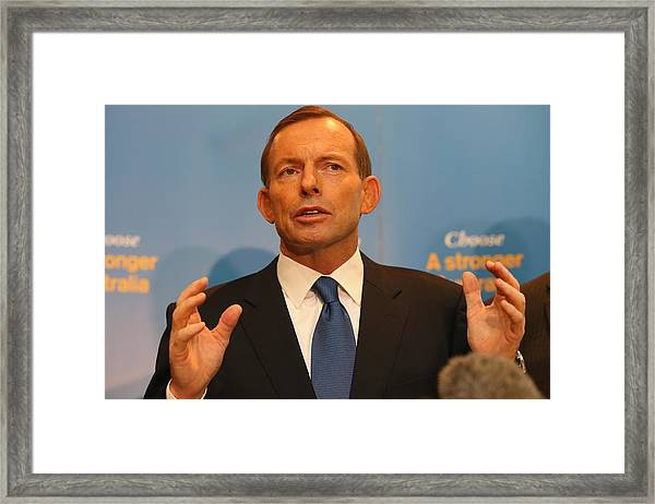 Opposition Leader Tony Abbott Unveils Coalition Border Protection Policy Framed Print by Chris Hyde