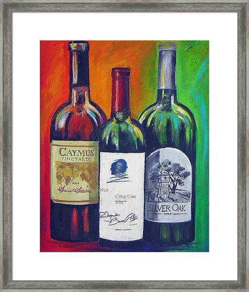 Opus One Caymus And  Silver Oak Framed Print