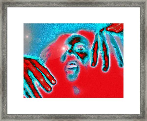 Orange And Blue Figure 2013 Framed Print