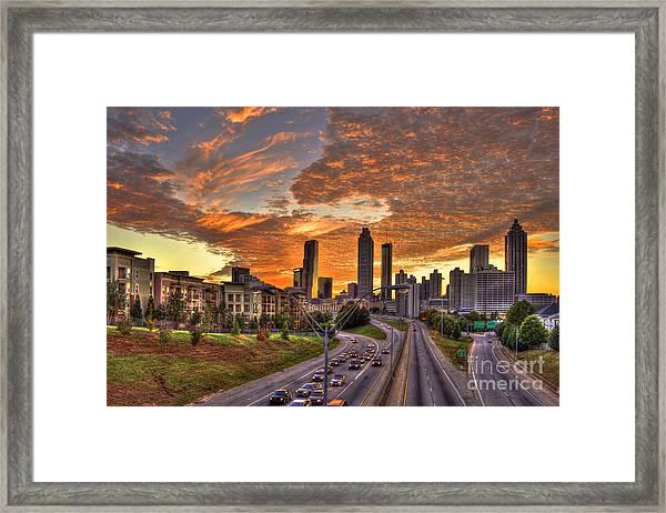 Orange Atlanta Sunset Framed Print
