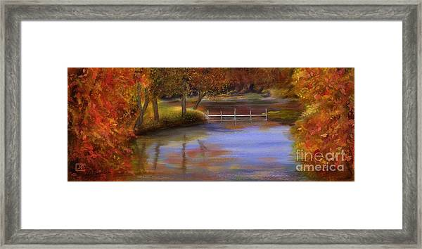 Orange Autumn Colors Reflected In Water  Framed Print by Judy Filarecki