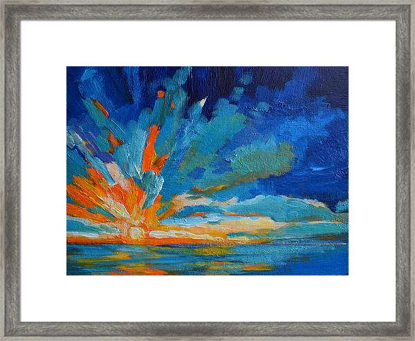 Orange Blue Sunset Landscape Framed Print
