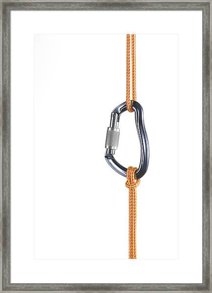 Orange Climbing Rope Connected By Framed Print