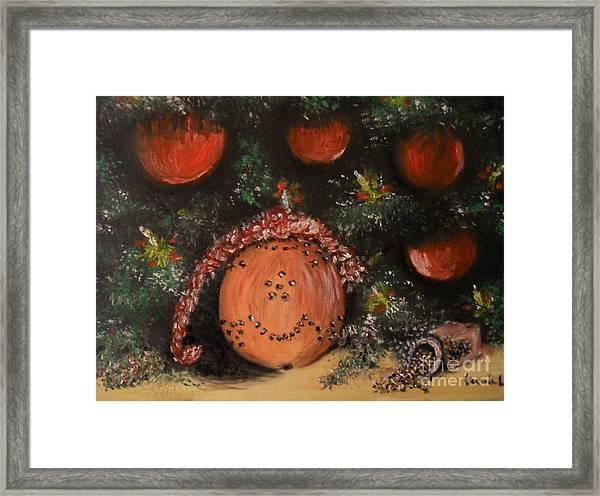 Orange Clover Christmas Framed Print