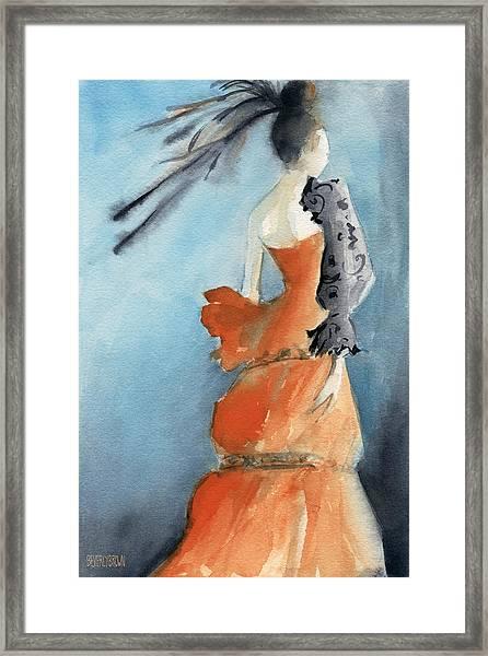Orange Evening Gown With Black Fashion Illustration Art Print Framed Print