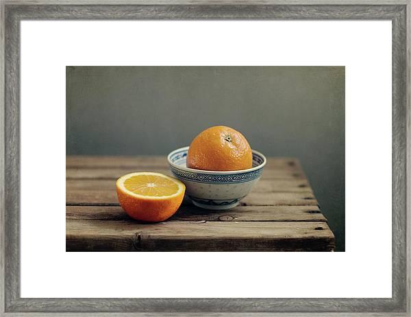 Orange In Chinese Bowl And Half Orange Framed Print