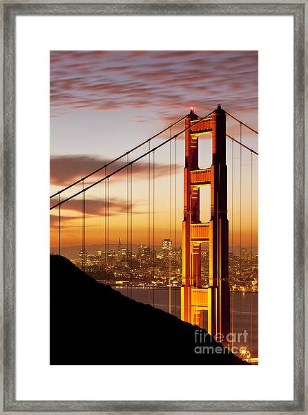 Framed Print featuring the photograph Orange Light At Dawn by Brian Jannsen