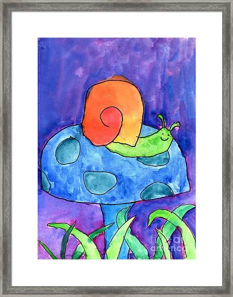 Orange Snail Framed Print