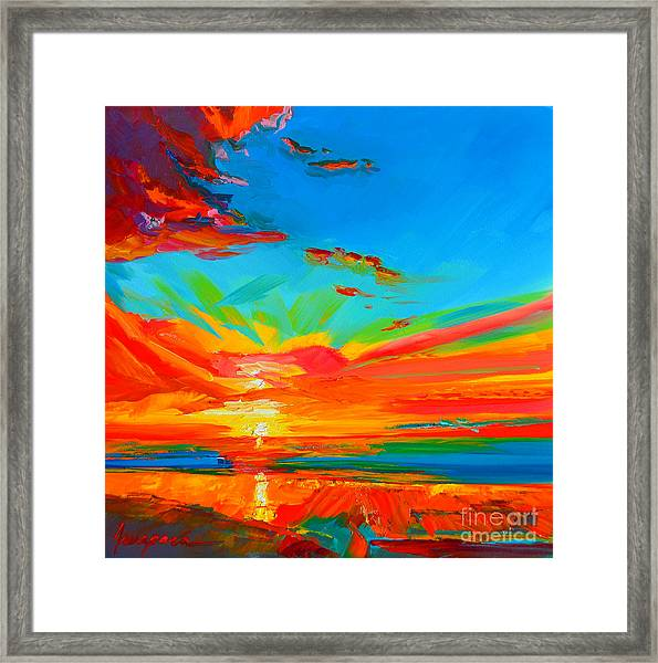 Orange Sunset Landscape Framed Print