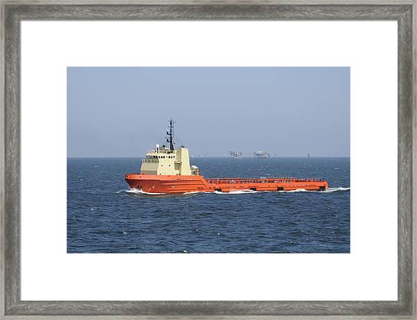 Orange Supply Vessel Underway Framed Print