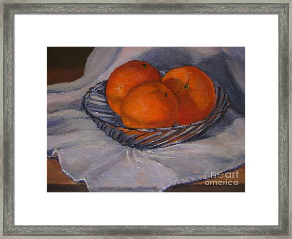 Oranges In A Swirly Bowl Framed Print
