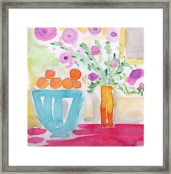 Oranges In Blue Bowl- Watercolor Painting Framed Print