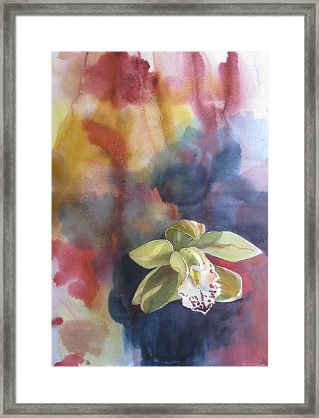 Orchid With Abstraction Framed Print