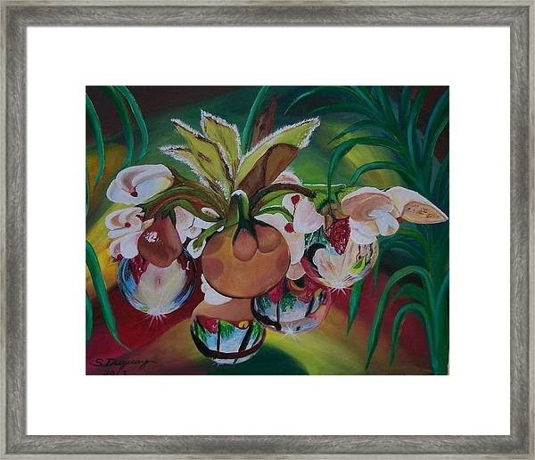 Orchids In Raindrop Reflections Framed Print
