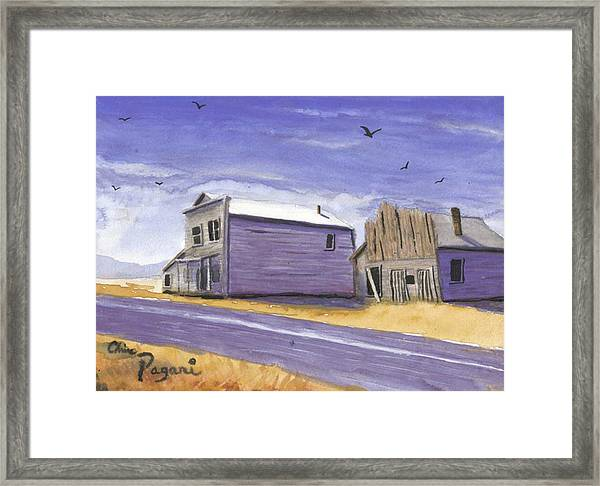 Oregon Ghost Town Watercolor Framed Print