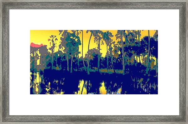 Framed Print featuring the painting Original Digital Fine Art Palms Reflections Sunset by G Linsenmayer